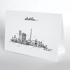 Hand-drawn Dublin skyline card