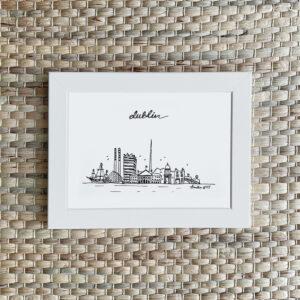 Hand-drawn Dublin skyline card