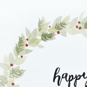 Hand-painted Christmas card – in greens