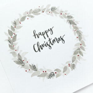 Hand-painted Christmas card – in greys